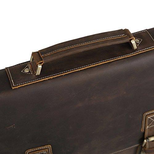 ee590b5f0e Polare Vintage Genuine Leather Tote Briefcase Professional 16   Laptop  Shoulder Messenger Bag (Dark Brown). Dark Brown. Light Brown
