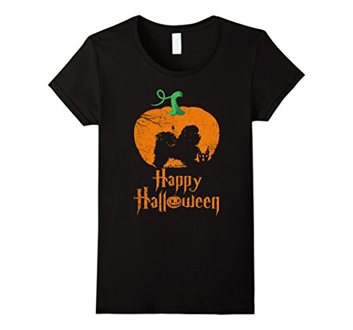 Womens SHIH TZU In Pumpkin Happy Halloween T-shirt Small Black