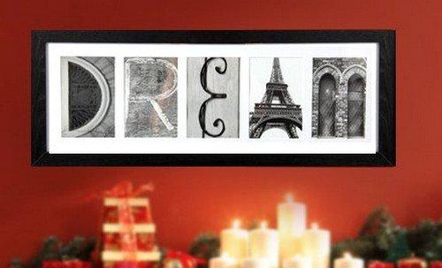 Imagine Letters 5-Opening Photo Collage Frame, White Matt...