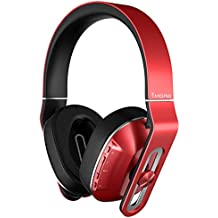 1MORE Wireless Over-Ear Headphones Bluetooth Comfortable Earphones with Bass Control, Durable Headband, Noise Cancellation Mic and in-Line Remote Controls for Apple iOS/Android/PC/Tablet - MK802 Red