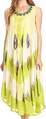 Sakkas Peacock Feather Caftan Dress / Cover Up