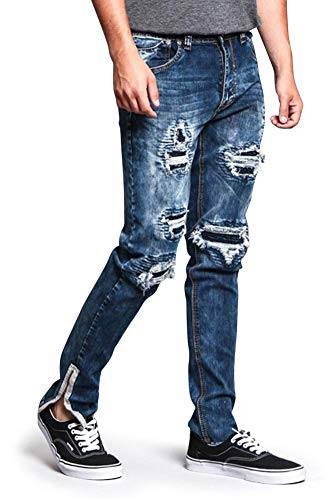 G-Style USA Destroyed Rip Illusion Ribbed Thigh Premium Quality High Fashion Biker Jeans with Outer Ankle Zipper DL1152 - Indigo - 32/32 - O5C