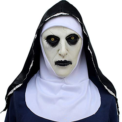 (JINPAI Halloween Ghost Horror Movie Spiritual Nuns Mask Scared Female Ghost Face)
