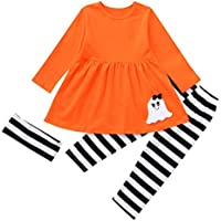 AMSKY❤Toddler Baby Girls Cute Halloween Clothes Long Sleeve T Shirt Dresses Pants with Headbands 3Pcs Costume Outfits Set