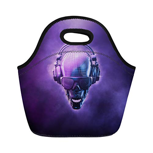 Semtomn Lunch Tote Bag Disco Ball Skull 3D of Shaped Mirror Headphones Reusable Neoprene Insulated Thermal Outdoor Picnic Lunchbox for Men -