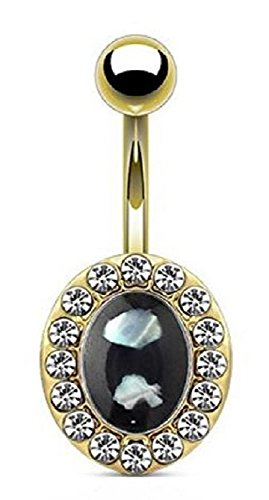 Shell Center and Crystals Around Oval Navel Ring 14G (Color: Gold/Black)