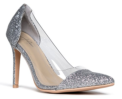 Clear Pointed Toe Pump Heels, Silver Glitter, 7 B(M) US