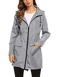 Womens' Waterproof Lightweight Raincoat Hooded Outdoor Hiking Long Rain Jacket