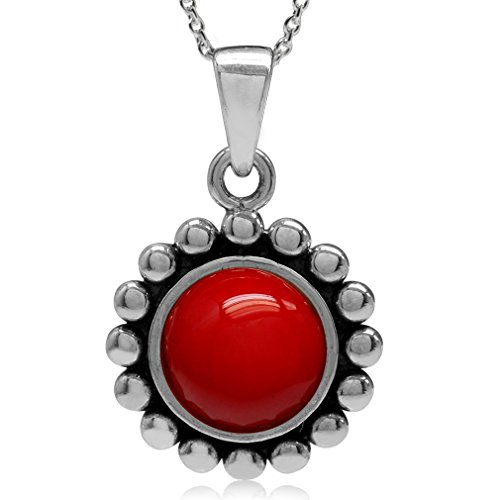 (Created Red Coral 925 Sterling Silver Bali/Balinese Style Pendant w/18 Inch Chain Necklace)