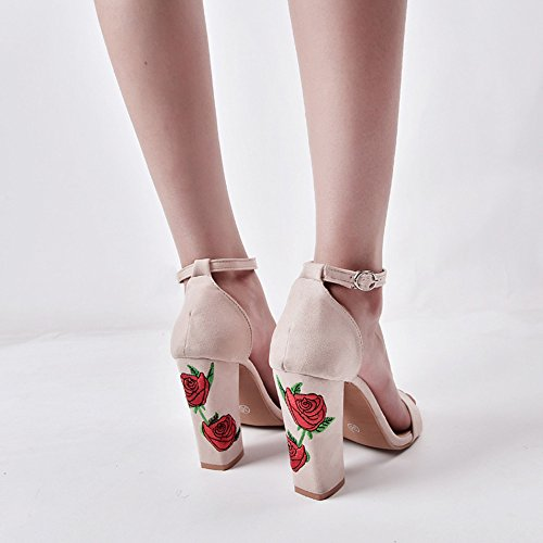 Rawdah Fashion Women Spring Suede Rose Embroidery Thick With Crude Round Toe Party High-Heeled Shoes Sandals Beige GFxT209s8