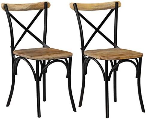 vidaXL Cross Back Modern Wooden Dining Chair Set of 2