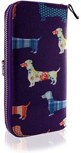Purse Dog PURPLE Dachshund Clutch KukuBird Ladies Large Pattern Wallet wSXxwPzqT