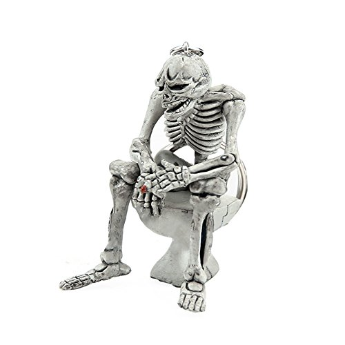 Key Skull Fob (Mwfus Cool Skull Toilet KeyChain Key Ring Skeleton Body Sitting Closestool Key Fob Rubber Key Finder Purse Bag Accessories Gift)
