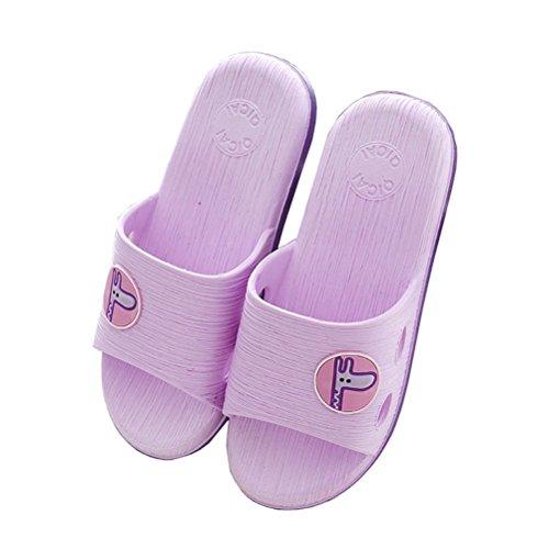 Siempre Pretty Unisex Verano Suave Cómodo Antideslizante Home Slippers Ducha Y Baño Zapatillas Púrpura