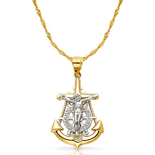 - 14K Two Tone Gold Jesus Crucifix Anchor Pendant with 1.2mm Singapore Chain Chain Necklace - 22
