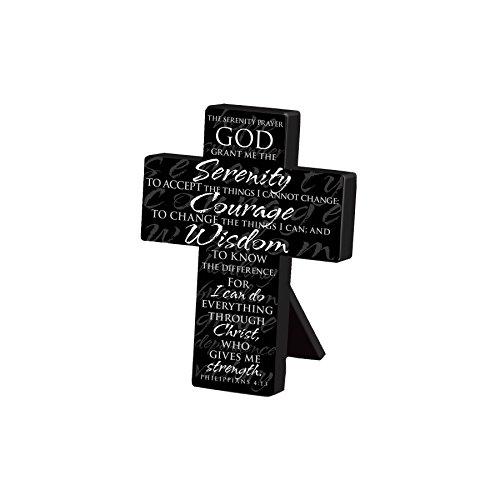 Lighthouse Christian Products Small Metal Serenity Prayer Desktop Cross, 3 3/4 x 5