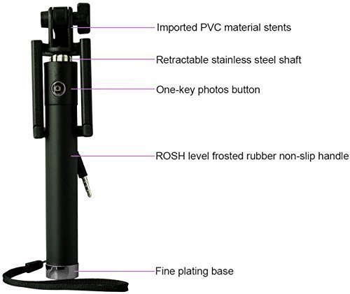 Global up Compact Wired Monopod Extendable Selfie Stick with AUX Wire Built-in Remote Pocket Size Sefie Stick for All Smartphone