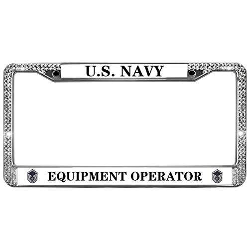 GND Crystals Metal License Plate Frame,Proud US Navy Bling License Plate Frame Equipment Operator Bling Rhinestones Car License Plate Frame Fit US Vehicles