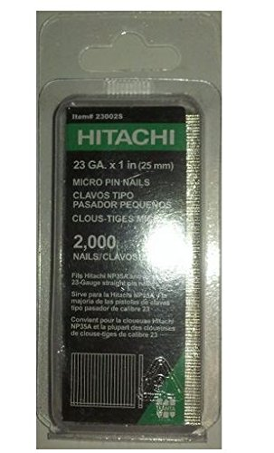 Hitachi 23002S 1-Inch x 23-Gauge Electro-Galvanized Headless Pins, 2000-Pack