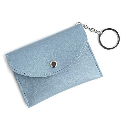 Mini Coin Purse With Key Ring -Leather Credit Card Case Driver's License Holder Wallets For Women
