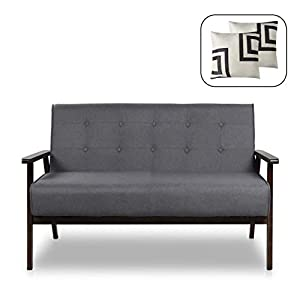 "Mid-Century Modern Solid Loveseat Sofa Bed Upholstered Fabric Couch 2-Seat Wood Armchair Living Room/Outdoor Lounge Chair,50""W"