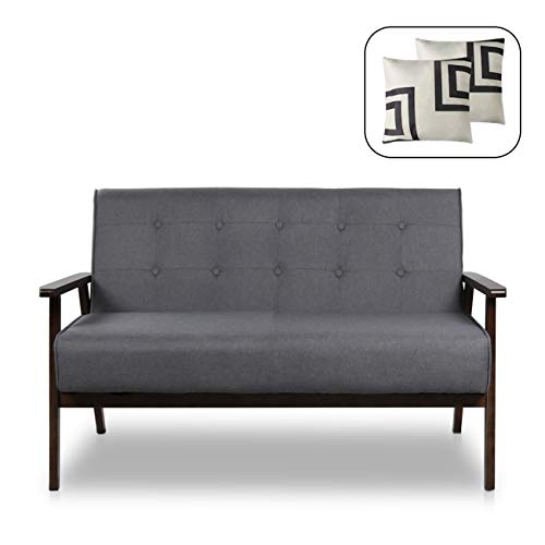Mid-Century Modern Solid Loveseat Sofa Upholstered Fabric Couch 2-Seat Wood Armchair Living Room/Outdoor Lounge Chair,50