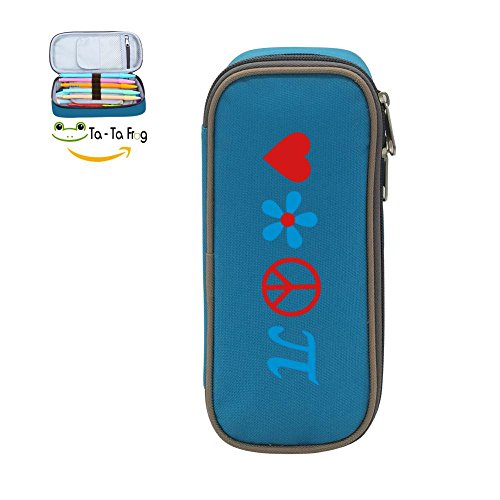 Fp1 Flash - bagshome Love Peace and Pi Large Capacity Canvas Pen Box Holder for School Blue