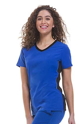 healing hands HH360 Women's Shona 2296 V-Neck Contrast Scrub Top- Royal/Black- 2X-Large ()