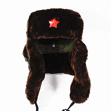 Chinese Russian Army Trooper Hat Ushanka winter Green Warm Cap Red Star  Badge 316be2e0b29