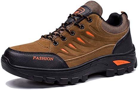 LOUCHI トレッキングシューズ メンズ ローカット 軽量 ハイキングシューズ 厚い底 防滑 登山靴 耐摩耗性 アウトドア 合皮 ウォーキングシューズ 大きいサイズ グリンー/ブラウン/グレー 25~27CM