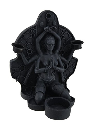 Gothic Candle Holders - Zeckos Kali The Black Goddess Bound and Kneeling Gothic Candle Holder