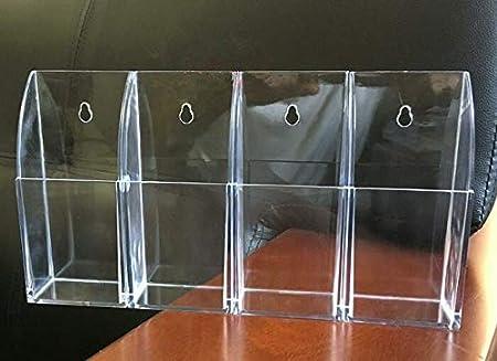 organizador de caja de soporte para tel/éfono m/óvil con 4 compartimentos para control remoto de TV de aire acondicionado Caja de almacenamiento de control remoto de acr/ílico transparente montaje en p