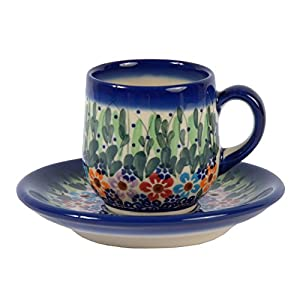 Traditional Polish Pottery, Handcrafted Ceramic Espresso Cup and Saucer 100ml, Boleslawiec Style Pattern, F.301.Daisy