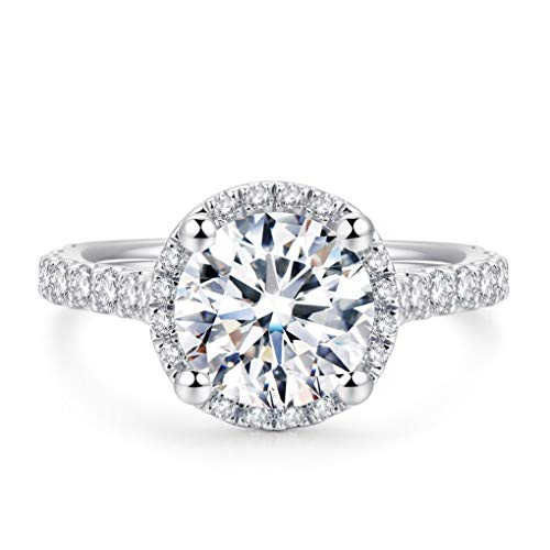 2ct Round Brilliant Cut Petite Micro Pave Floating Halo Simulated Diamond CZ Engagement Ring (6.5)