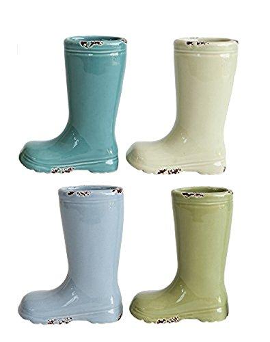 Spring Stoneware - Creative Co-op Set of 4 Pastel Colored Spring Ceramic Stoneware Mini Boot Vases, Multicolor, 4