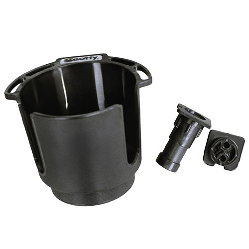 Scotty #311-BK Cup Holder with Rod Holder Post and Bulkhead Black by Scotty