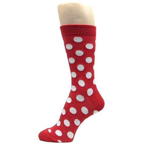 Polka Dots White Cotton Socks - Spotlight Hosiery Men's Polka Dots Dress Socks,Red/White