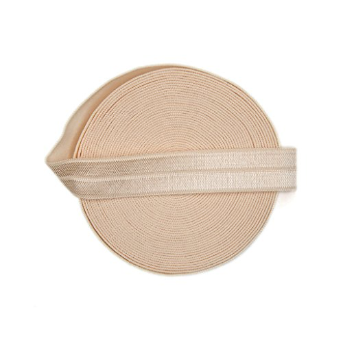 DIY PARK 5 Yard 5/8 Soild Color Fold Over Elastic Spandex Satin Band Lace Baby Headband Sewing Trim(Nude)