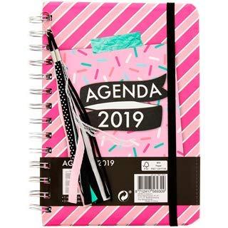 Agenda anual de Luxe 2019, color Rose Rayé 18,5 x 1,5 x 15 ...