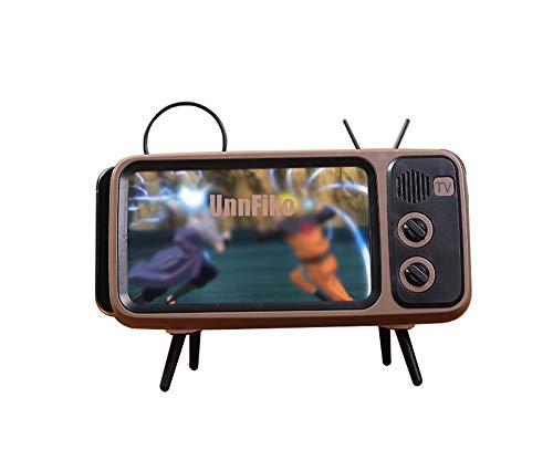 UnnFiko Retro TV Style Stand Holder, Cartoon Desktop Bracket Desk Mount, Universal for iPhone X 6 6s 7 8 Plus Xs 11 Pro Max (TV Brown)