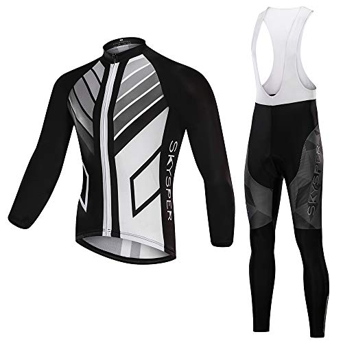 SKYSPER Men's Cycling Jersey Suit Long Sleeve MTB Bike Bicycle Shirt Tights 3D Padded Pants Winter Riding Gear Breathable