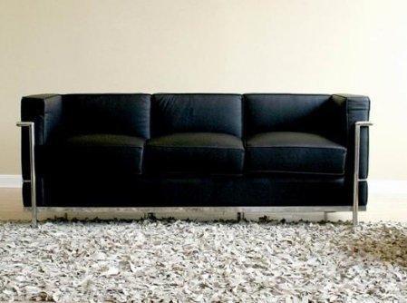 Baxton Studio Le Corbusier Petite Sofa, Black