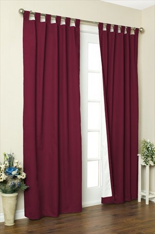Commonwealth Home Fashions 70292-153-803-63 Thermalogic Insulated Solid Color Tab Top Curtain Pairs 63 in., Burgundy