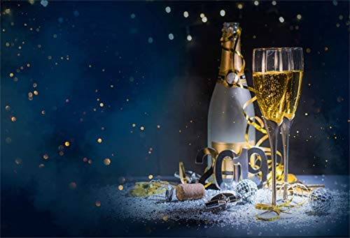 Laeacco New Year 2019 Backdrop Vinyl 7x5ft Abstract Champagne Goblets Bottle Small Mirror Balls Bung Diamond Fragments Bokeh Haloes Background Child Kids Adult Portrait Shoot New Year Party Banner