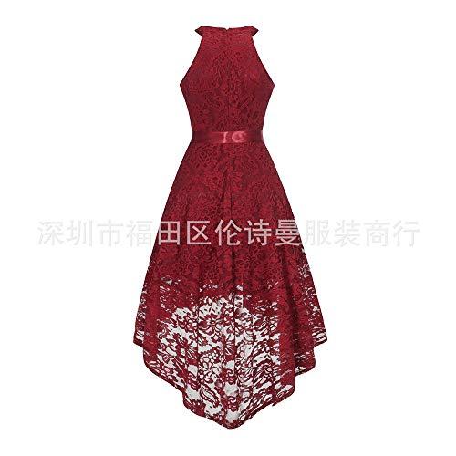 Red Noche Yuezhang La Elegante Cordón Temperamento Moda Swtertail Halter De Vestido Del vestido Haltertail Rq4qTw