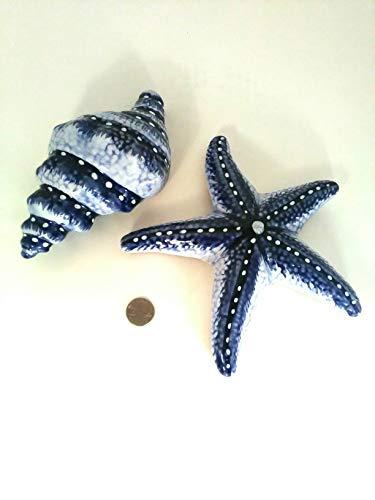 Estrella Outdoor Hanging (Dark Blue Mexican Talavera Starfish and Shell Set (Estrella del Mar y Concha) for hanging or placing indoor or outdoors.)