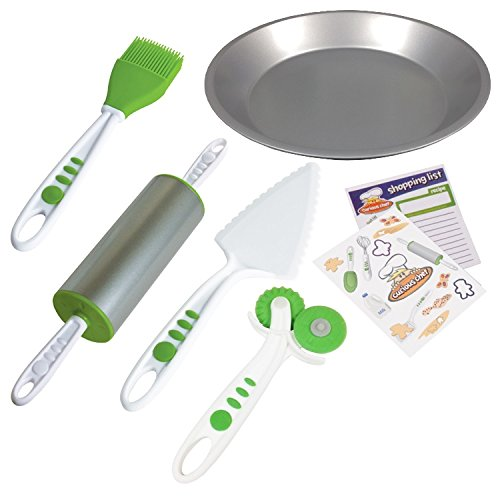 Real Kitchen Tools and Cookbook for Kids - Curious Chef 5 Piece Pie Making Kit, Child, Green/White