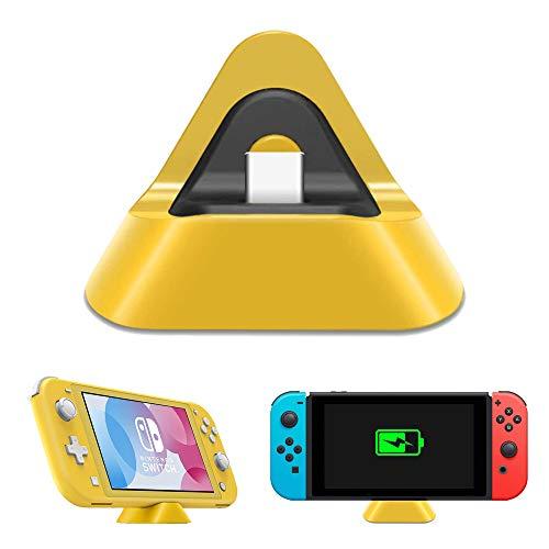 NexiGo Charger Dock for Nintendo Switch/Nintendo Switch Lite, Compact Triangular Charger Docking Station Compatible with Nintendo Switch/ Nintendo Switch Lite with Type C Port (Yellow)