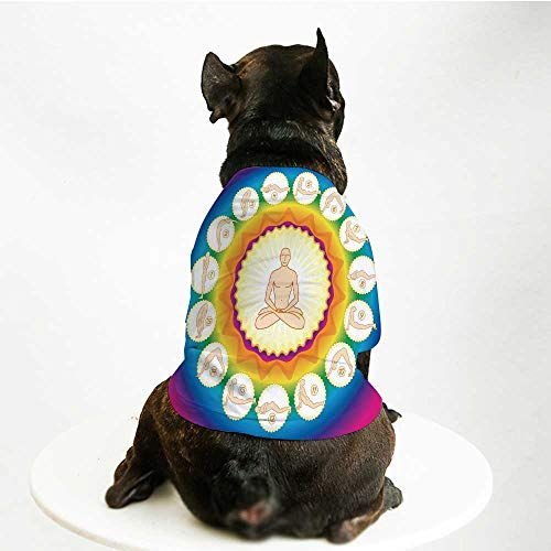 YOLIYANA Yoga Cute Pet Suit,Yogi in The Lotus Posture and Exercises in Several Positions Surya Namaskar Vitality for Small Medium Large Size Dogs Cats,M