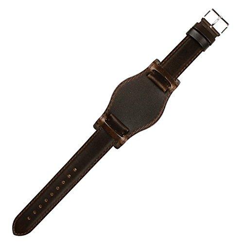 Bund Strap Waterproof Leather Watch Strap Brown-Brown Stitching 18mm by HDT Design